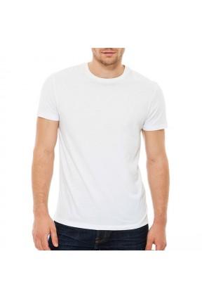Beyaz 0 Yaka Erkek Tişört Ücretsiz Kargo