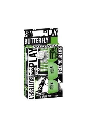 Butterfly Free Your Styla 6'lı yeşil Masa Tenisi Topu